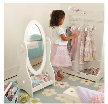 Sweetheart white children wooden standing mirror dresser for Kids room mirror