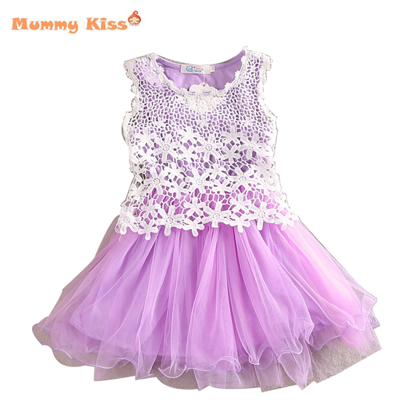 Girl Dress 2015 Summer Style Korean Lace Hook Flower Baby Girls Sundresses Princess Tutus Children Clothing Party Kids Clothes