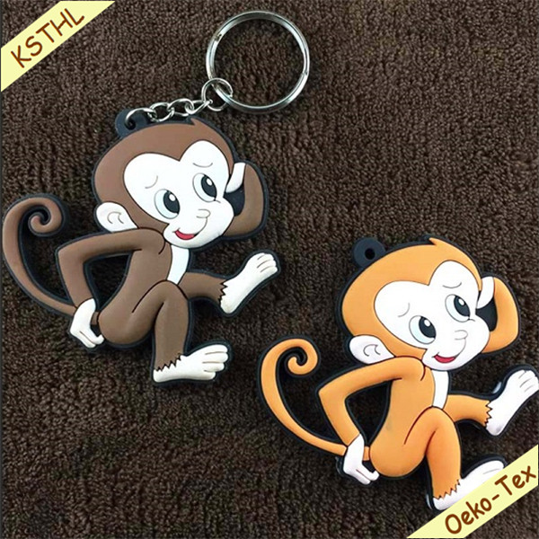 Oem custom design advertising rubber key chain with logo for bags