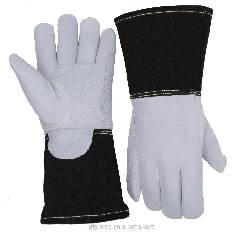 Flexible Soft Welding Flam Fire Deerskin Leather Gloves with Split Cowhide Cuff