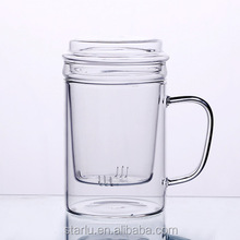 custom 350ml 450ml 550ml Glass Clear Borosilicate double Wall Drinking Glass Cup Teapot Set With Glass Infuser Cheap