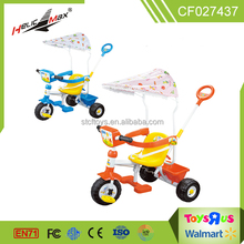wholesale cheap good quality push music light sunshade 3 wheel tricycle for children with baby playpen