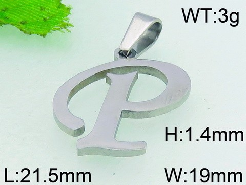 Fashion Letter P Pendant Jewelry Stainless Steel Charm Pendant