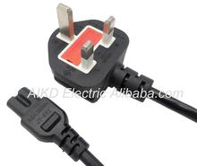 UK 5A fused right angle ac power cord