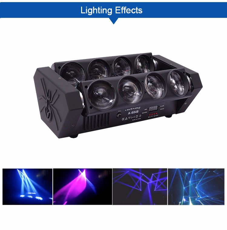 New products dj equipment night club lighting 8X10W white 4 in 1 LED spider beam moving head light