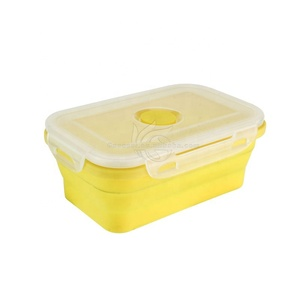 3-compartment Food Container with Lid Bento Lunch Box Leak Proof Microwave Safe Silicone Collapsible Food Lunch Box