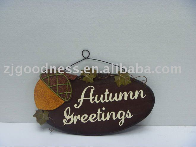"13-7/8""L Wood Wall Plaque with acorn design"