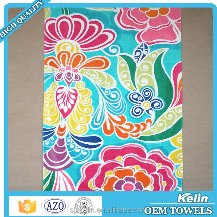 2016 hot selling item reactive printing cotton 90x160cm sand resistant beach towel