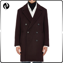 2017 Hot popular winter clothing double-breasted brown wool long men slim fit coat