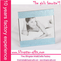 blue rhinestone bling picture frame