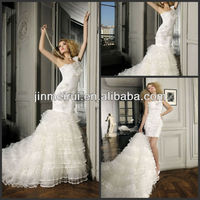 2016 New Arrival Removable Skirt Detachable Wedding Dresses Mermaid Vestodos Organza And High Quality Feather Wedding Gown