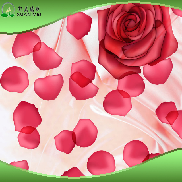 Rose Petals Wall Mural Size Customized 3D Wallpaper for Spa /Club Decoration