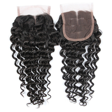 4*4 wholesale cheap virgin Brazilian hair top lace front kinky hair closure hair