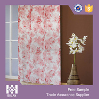 Printed voile curtain,fashion style looped curtain,flower design curtain 2015