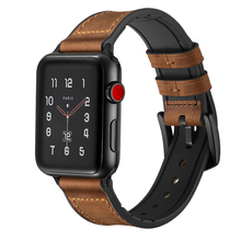 Amazon Hot Selling Retro Genuine Leather +Silicone Watch Band for Apple Watch with Free Case