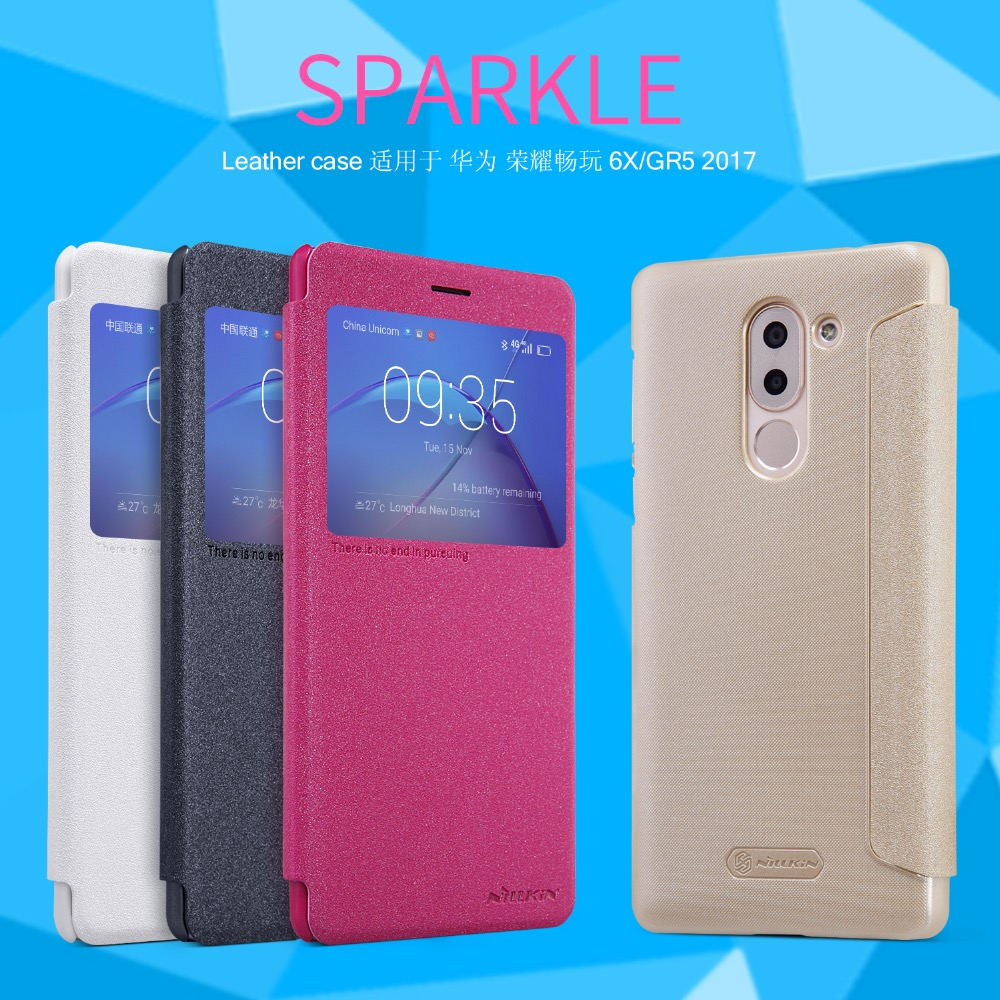 Nillkin Sparkle Flip Leather cover Mobile Phone case for Huawei Mate 9 Lite GR5 2017
