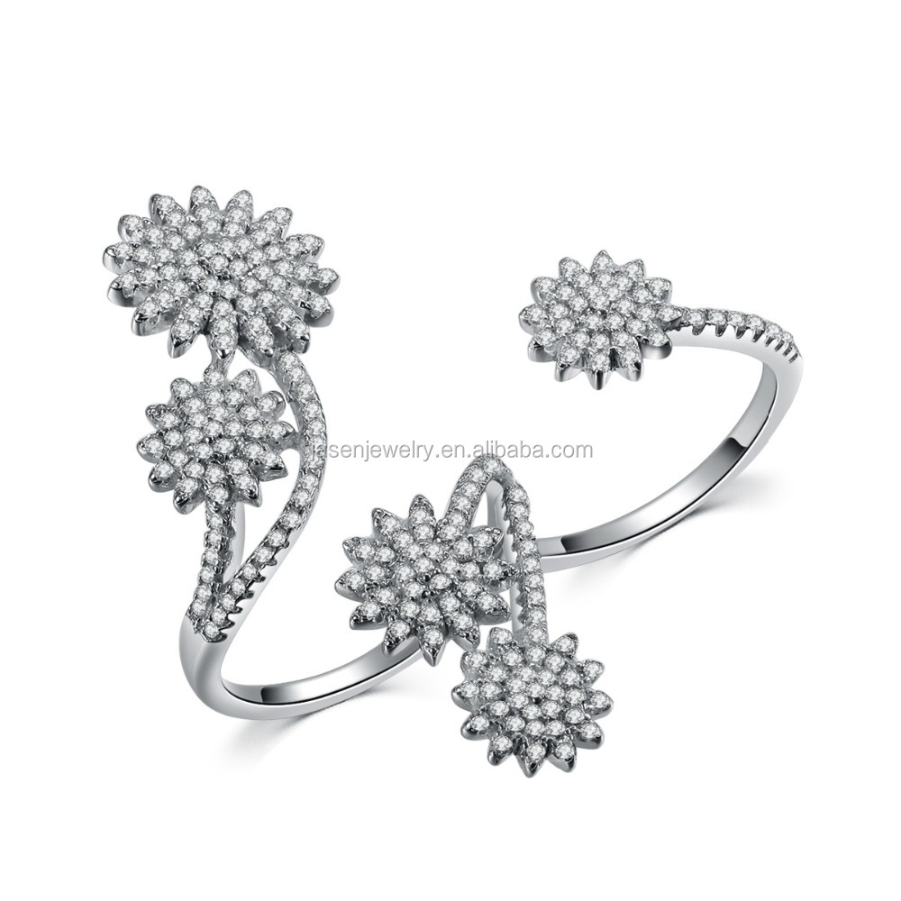 Silver 925 ring double finger fashion ring
