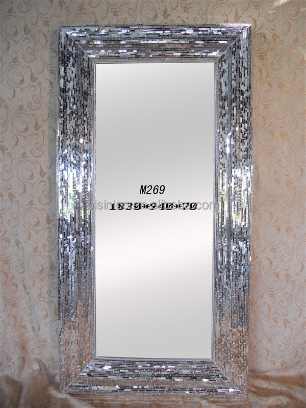 Latest Design Hot Sale Ornate Crystal Glass Mosaic Frame Decoration Wall Mirror, Elegant Dressing Mirror