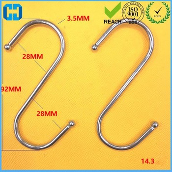 10 pcs Stainless Steel S Hook Plants, Tools, Kitchen Items In 92*28mm