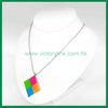 Square Pendant with Fluorescent Color Ball Chain Necklace