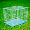 colorful metal wire pet dog cage with removable platic tray