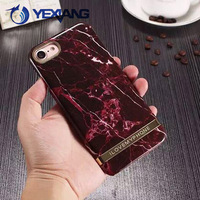Fashion OEM Customized Design Marble Printing Phone Case for iPhone 7 with Golden Blank Badge