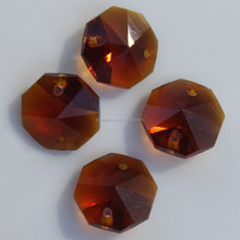 Wholesale 14MM Amber Color Faceted Octagon Glass Beads Crystal Prisms Two Hole Sew On Beads