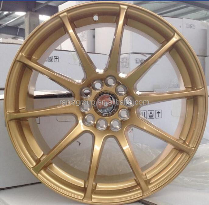 17 inch gold sport car aluminum alloy wheels with 5x114.3/5x100 rim