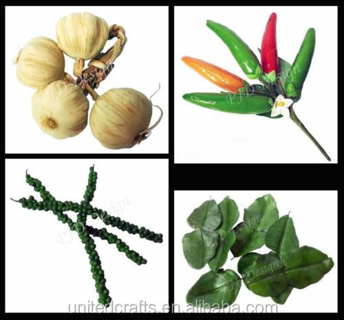 Artificial Fake Vegetable Herbal Peppercorn Garlic Chili Lime Leaf Look Real