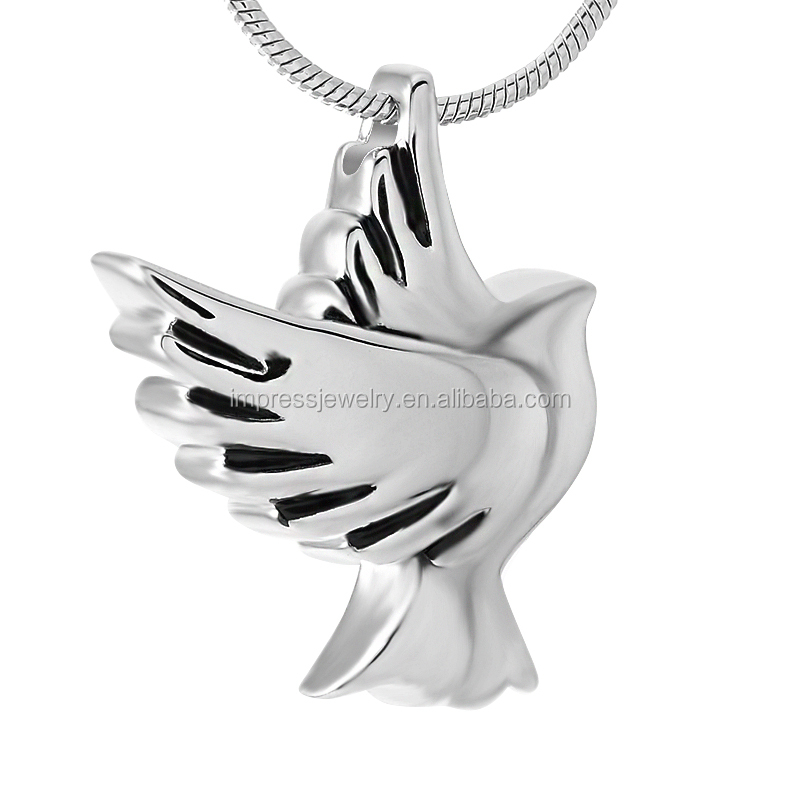 IJD9496 Silver/Gold/Rose gold/Black Stainless Steel Pet memorial Urn Pendant Ashes Holder Keepsake dove cremation jewelry