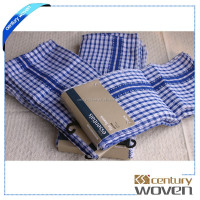 100% Cotton linen wafflle checked tea towel for sale