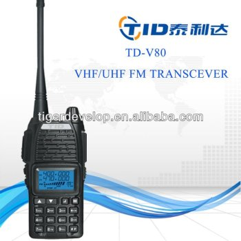 Td-v80 display 5w vhf uhf 1600mAh walkie talkie dual band two way radio