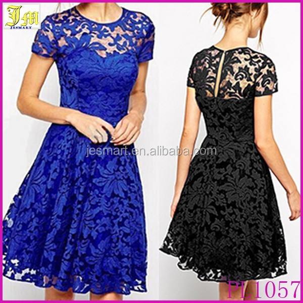 2015 New Fashion Sexy Women Dress Spring Summer Casual Cocktail Party Dresses Woman Black Blue Flower Lace Dress