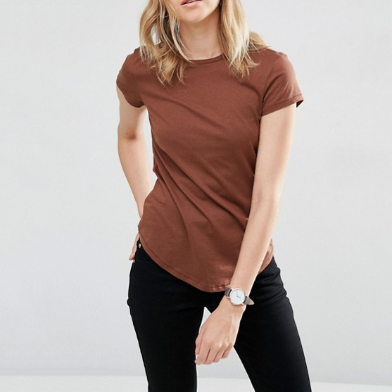 Fashion 100% Cotton Brown Curve Hem Women T Shirt With Wholesale Price
