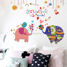 Removable kids Room 3D PVC decal elaphant wall sticker decoration