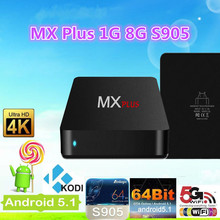 MX Plus Android TV Box Quad Core Amlogic S905 1G/8G ROM Smart TV Box KODI 14.2 full loaded Airplay APK & ADD-ONS Pre-installed