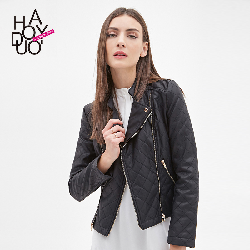 HAODUOYI Women Autumn New Black PU Leather Jackets Zippers Sports Blazers for Wholesale