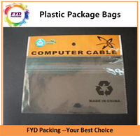 Header Printed BOPP Plastic Bags With Self-adhesive For Computer Cable Pack