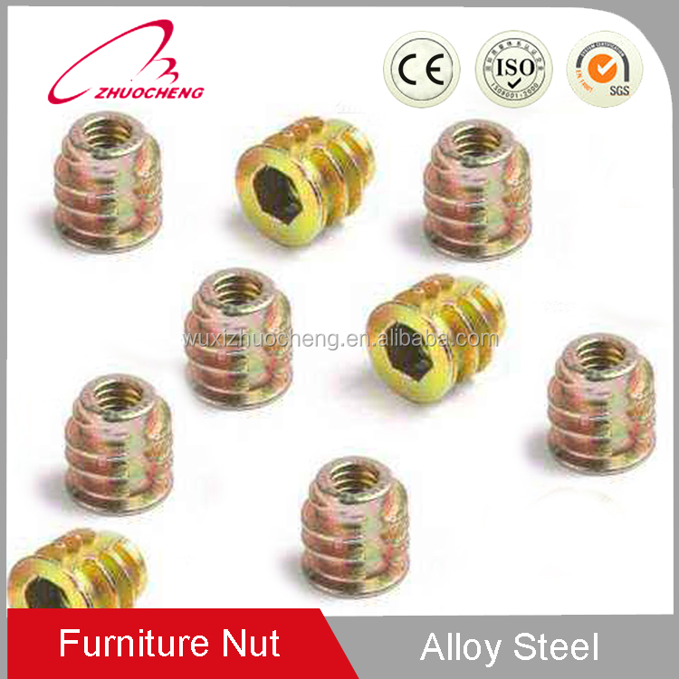 China high quality Sell well M10 DIN7965 self tapping fitting fastener yellow plated Thread through hole insert nut for wood