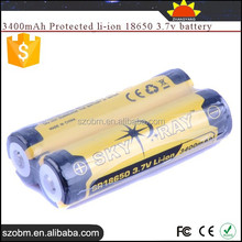 SKY RAY SR18650 3400mAh Protected Rechargeable li-ion 18650 3.7v battery