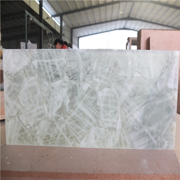 Crystalline Stone Slabs : Natural quartz crystal stone backlit tile slab for