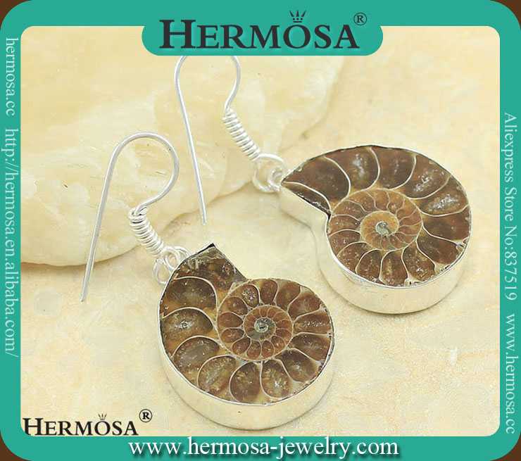Sterling Silver Genuine Gemstone Dangling Ammonite Fossil Earring A954