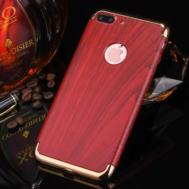 For iPhone 7 phone case wooden pattern 3 in 1electroplated mirror bumper Case for iPhone case
