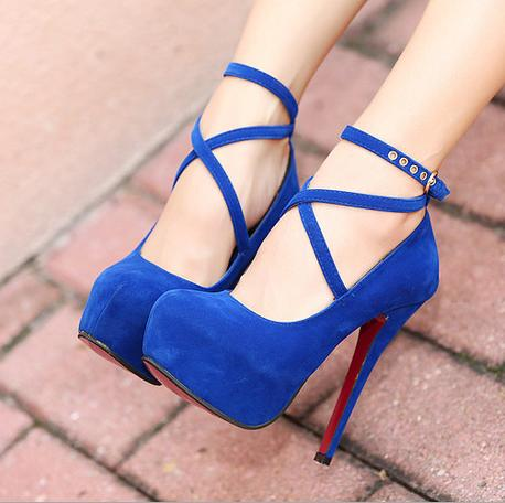 Royal Blue Women High Heels With Ankle Strap Large Size High Heels Eur 34-42