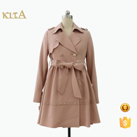young women spring autumn sweet trench coat with belt