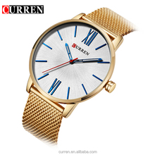2017 Casual Men Curren 8238 Watch Gold Plated Famous Brand Luxury Chain Strap Waterproof Quartz Wrist Watch