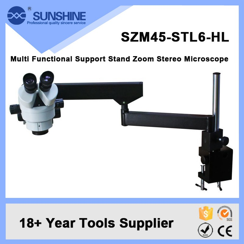 SUNSHINE 3.7x-45x Led Light Stereo Microscope With Flexible Boom Arm