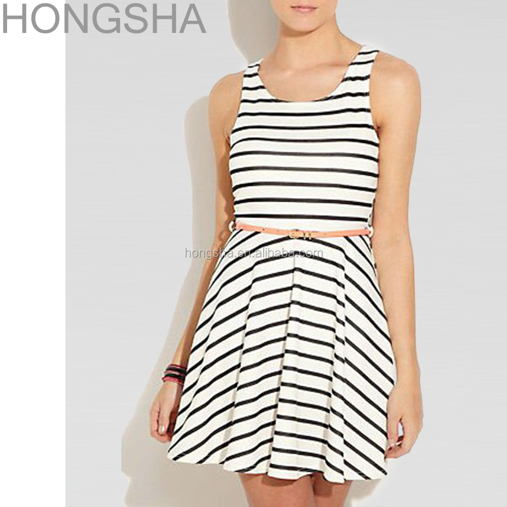 Black And White Stripe Fit And Flare Dress Custom Printed Skater Dress HSN0033