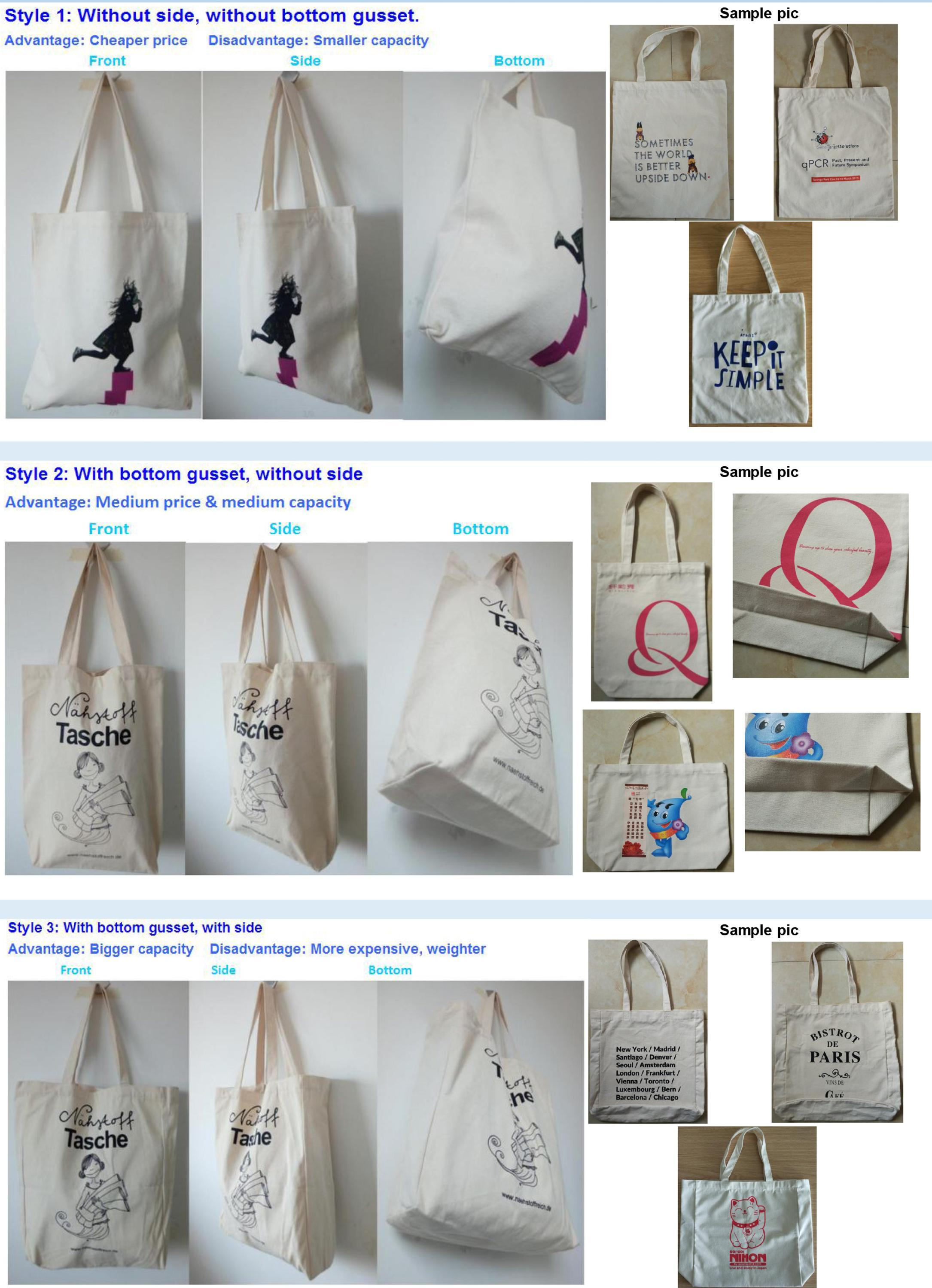 Wholesale Custom Logo Printed Standard Size Cotton Tote Bag