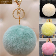 plush rex rabbit fur ball keychain / animal pom pon / pom poms fur bag charm